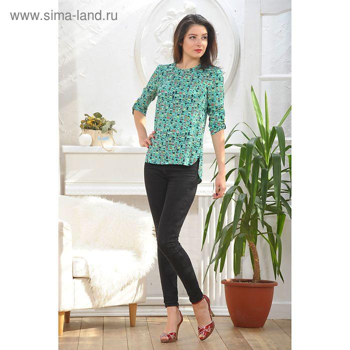 Блуза, размер 46, рост 164 см, цвет зелёный/жёлтый (арт. 4888а)