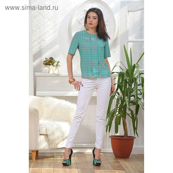 Блуза, размер 48, рост 164 см, цвет зелёный/белый/красный (арт. 4886)