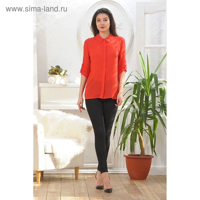 Блуза, размер 46, рост 164 см, цвет красный (арт. 4887)