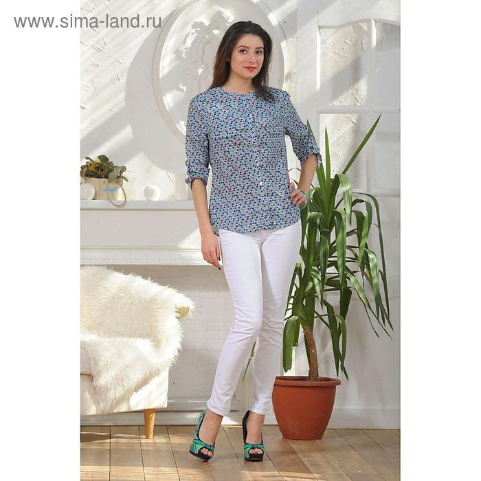 Блуза, размер 48, рост 164 см, цвет синий/красный/зелёный (арт. 4885а)