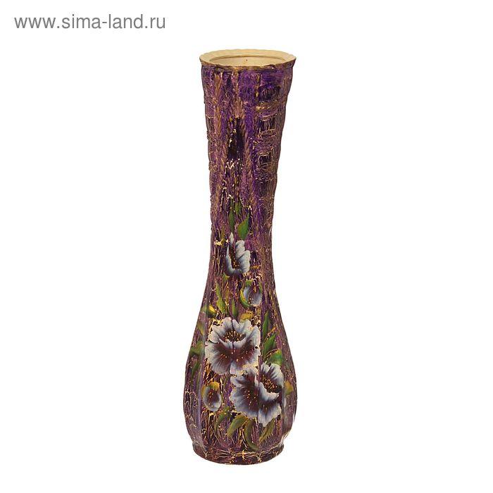 """Ваза напольная """"Клео"""" кракелюр, фиолетовая, бело-фиолетовые цветы"""