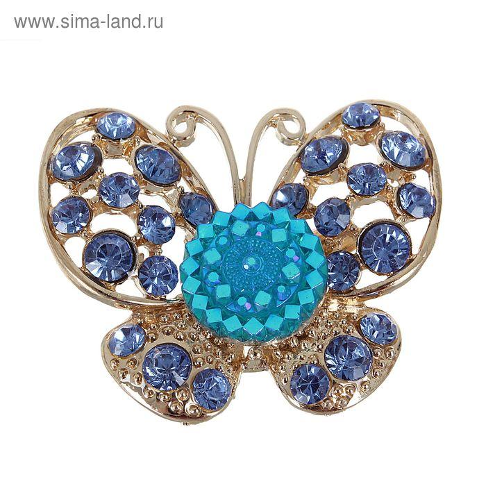 """Брошь """"Бабочка ажурная"""", цвет синий в золоте"""