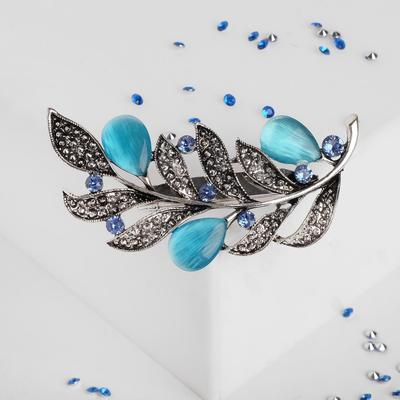 """Brooch """"Twig with leaves"""", blue color in nielloed silver"""