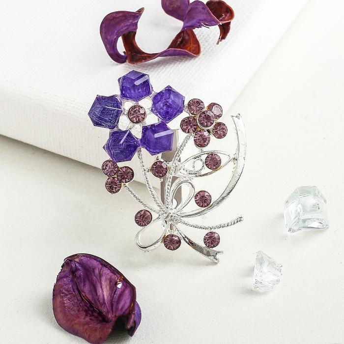 """Брошь """"Цветы"""", букет, цвет фиолетовый в серебре"""