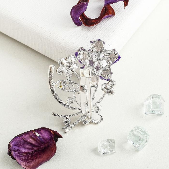 """Брошь """"Цветы"""", букет, цвет фиолетовый в серебре - фото 301710972"""