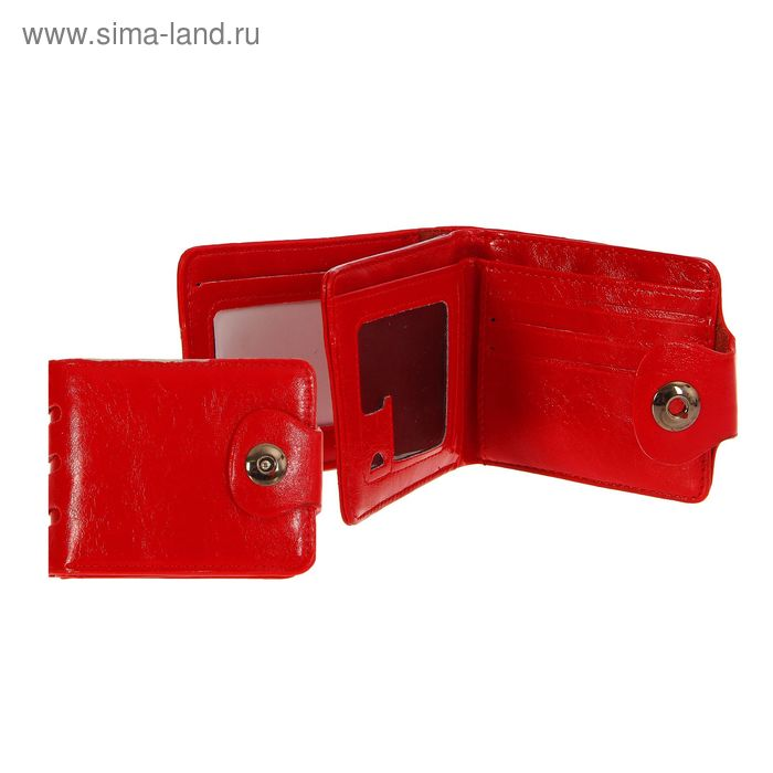 """Кошелёк женский на магните """"Леонора"""", отдел для карт, красный"""