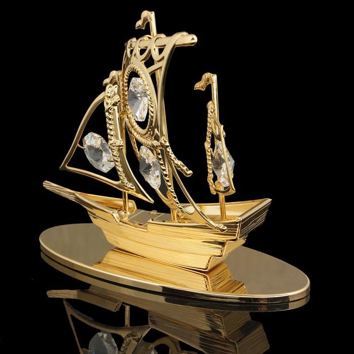 Сувенир «Корабль»,4,5×10×9 см, с кристаллами Сваровски