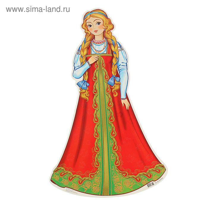 """Плакат фигурный """"Девушка в красном платье"""" Золотистые волосы"""