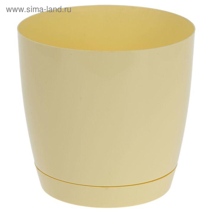 """Кашпо d=17 см """"Тоскана"""" круглое, цвет бледно-желтый"""