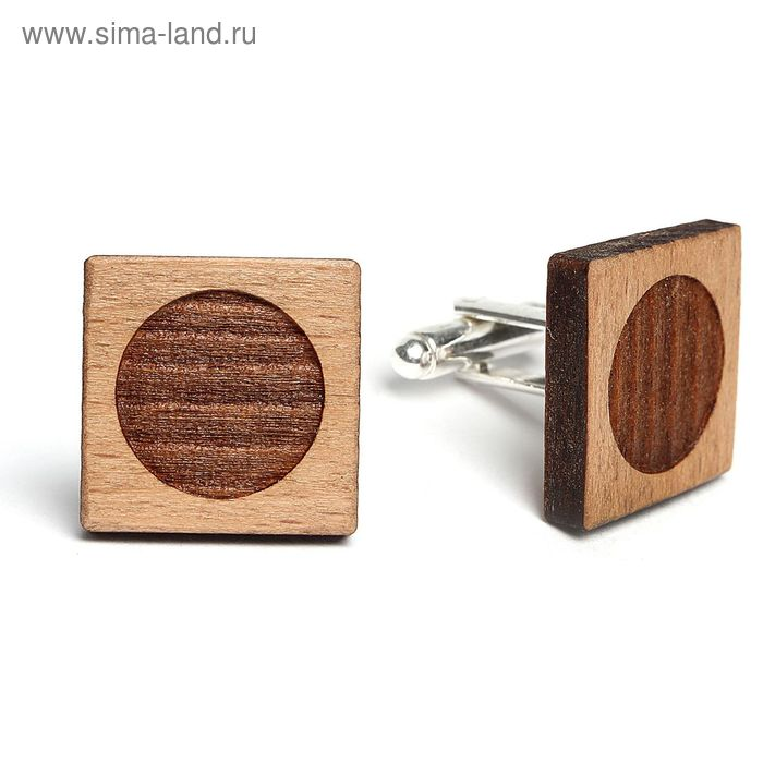 """Запонки мужские деревянные """"Квадрат"""" орех резной"""