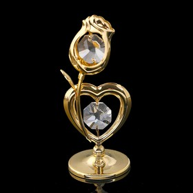 Сувенир «Сердце с цветком», 3х3х8 см, с кристаллами Сваровски