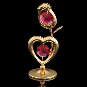 Сувенир «Роза с сердцем», 3×3×8 см, с кристаллами Сваровски