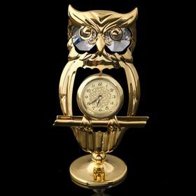 Сувенир - часы «Филин», с кристаллами Сваровски