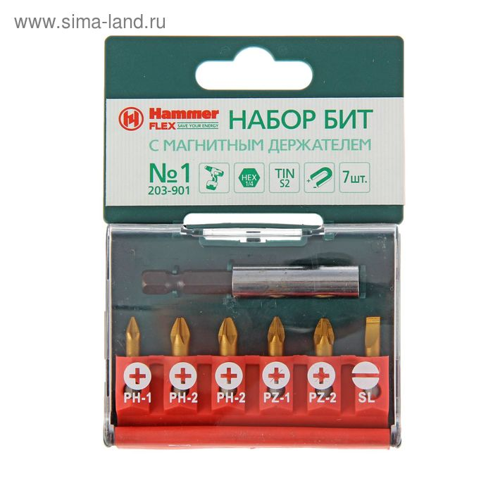Набор бит Hammer Flex 203-901, PB set №1 (7 pcs) Ph/Pz/Sl, 7 шт.