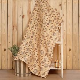 """Полотенце для бани """"Банька"""" 80х 150 см,  хлопок вафельное полотно"""