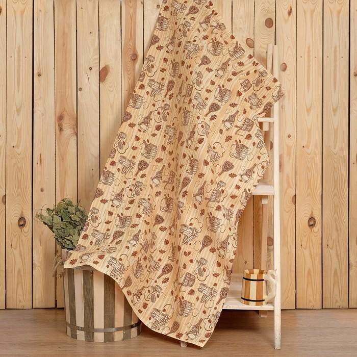 """Полотенце для бани """"Банька"""" 80х150 см,  хлопок вафельное полотно"""