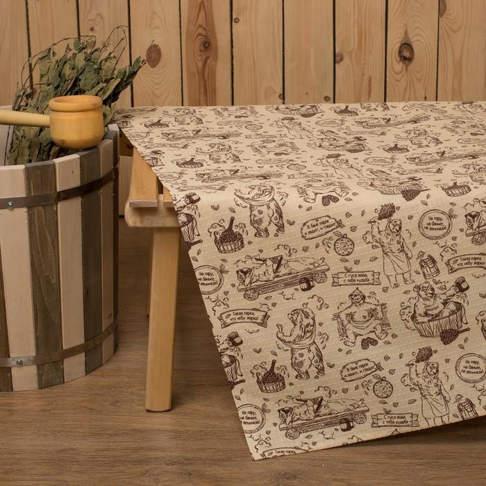 """Простыня для бани Collorista """"Медведь"""" 145х 180 см,  хлопок вафельное полотно"""