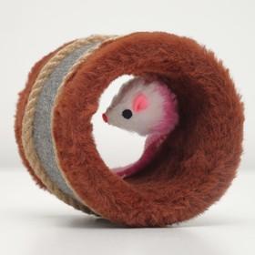 Игрушка-когтеточка с мышкой, джут и ковролин, 10 х 10 см - быстрая доставка