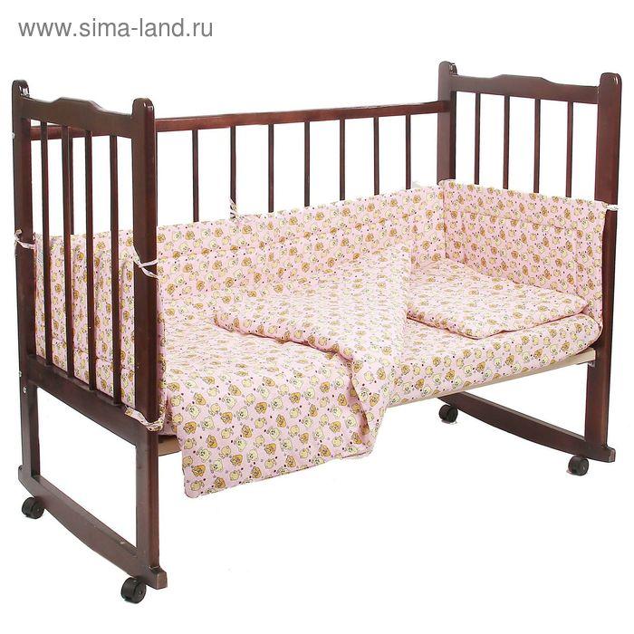 """Комплект в кроватку 6 предмета """"Малышок"""" розовый 10606"""