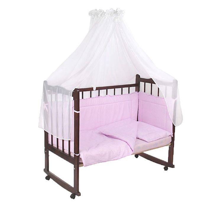 """Комплект в кроватку """"Горошки"""" (7 предметов), цвет сиреневый (арт. 10703)"""