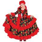 """Карнавальный костюм """"Цыганка"""", косынка, блузка, юбка, пояс, цвет красный, обхват груди 56 см, рост 110 см"""