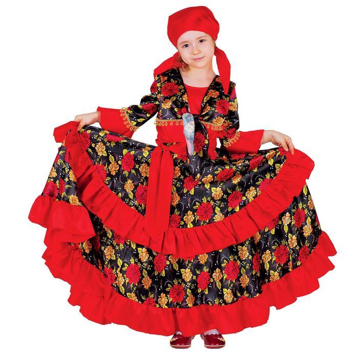 """Карнавальный костюм """"Цыганка"""", косынка, блузка, юбка, пояс, цвет красный, обхват груди 60 см, рост 116 см - фото 1645503"""