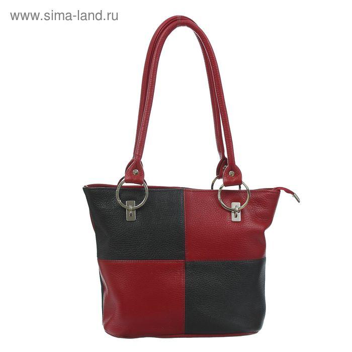 Сумка женская на молнии, 1 отдел с перегородкой, 1 наружный карман, чёрный/бордовый