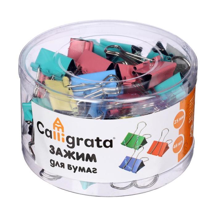 Набор зажимов для бумаг цветных 25мм 48шт МИКС 4цв в пластик тубе CALLIGRATA