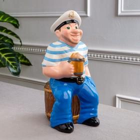 """Копилка """"Моряк Костя"""", глянец, голубой цвет, 33 см"""