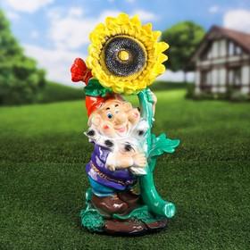 """Садовая фигура """"Гном с подсолнухом"""", жёлтый цвет, 54 см, микс"""