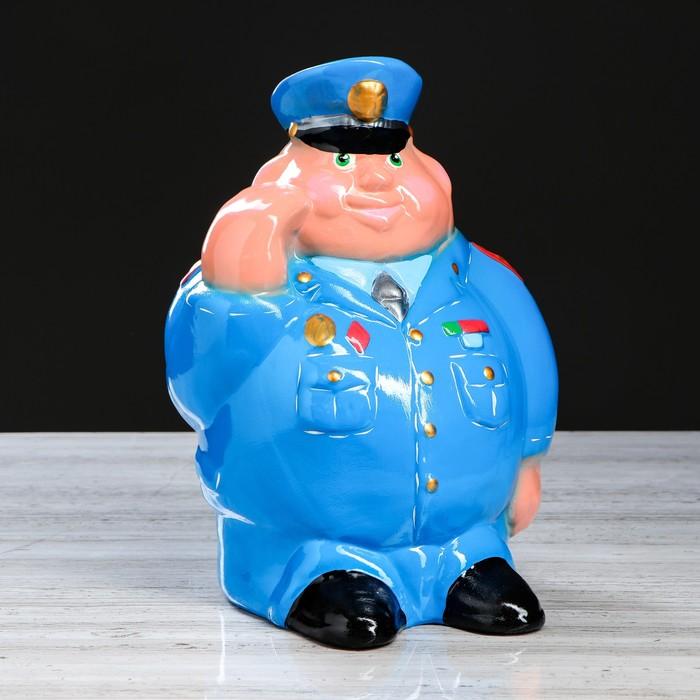 """Копилка """"Полицейский"""", глянец, голубой цвет, 30 см, микс"""