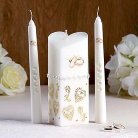 """Набор свечей """"Свадебный"""" №7 Белый, ручная работа"""