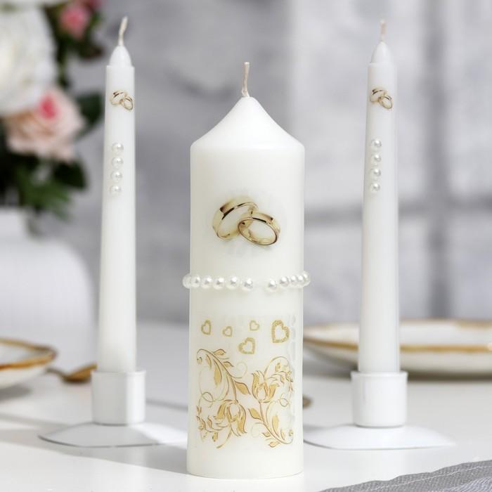 """Набор свечей """"Свадебный"""" №1  Белый, ручная работа"""
