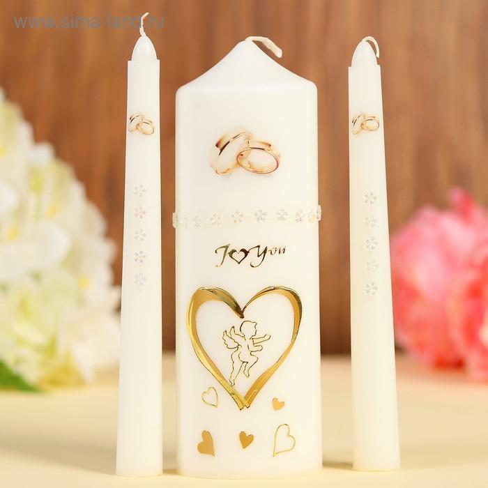 """Набор свечей """"Свадебный"""" №3 Белый, ручная работа"""