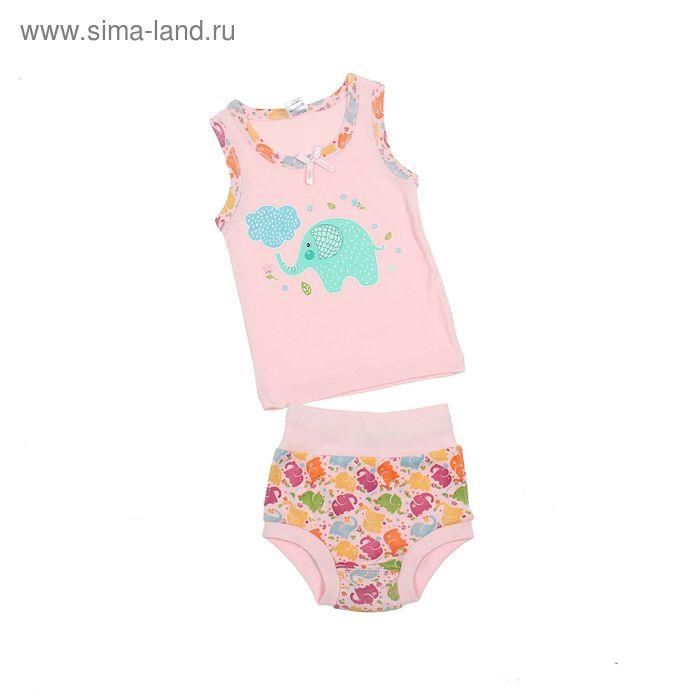 Комплект для девочки (майка с плечом, трусы), рост 80 см (52), цвет светло-розовый (арт. 312)