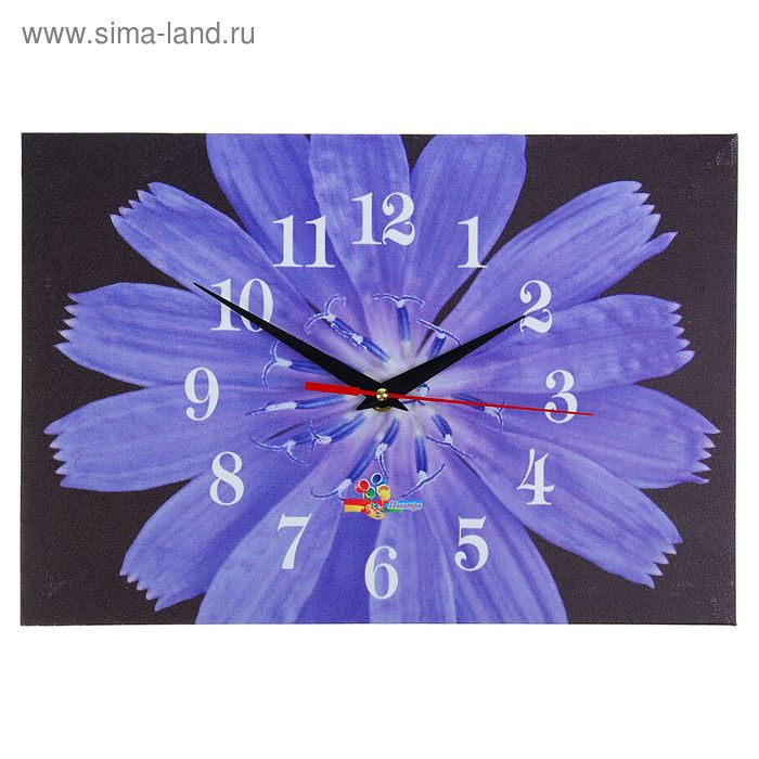 """Часы настенные прямоугольные """"Голубой цветок на черном"""", 25х35 см"""