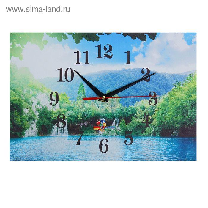"""Часы настенные прямоугольные """"Горное озеро"""", 25х35 см"""