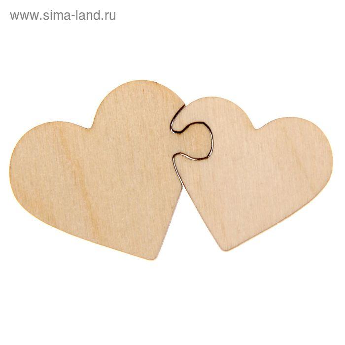 """Декоративный элемент — пазл """"Два сердца"""", набор 2 детали"""