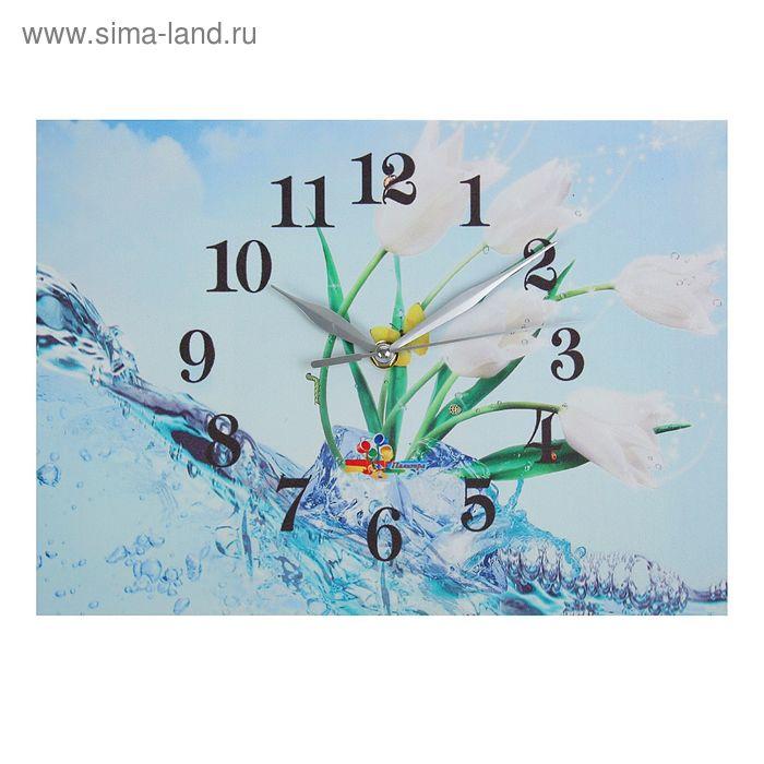 "Часы настенные прямоугольные ""Цветы, вода"", 25х35 см"