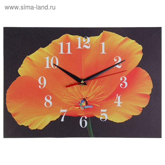 """Часы настенные прямоугольные """"Цветок на черном"""", 25х35 см"""