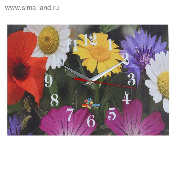 """Часы настенные прямоугольные """"Полевые цветы"""", 25х35 см"""