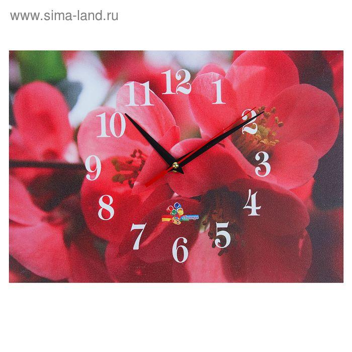 """Часы настенные прямоугольные """"Алые цветы"""", 25х35 см"""