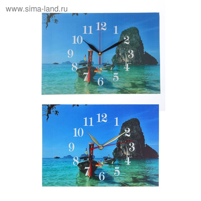"""Часы настенные прямоугольные """"Тропическая лодка"""", 25х35 см микс"""