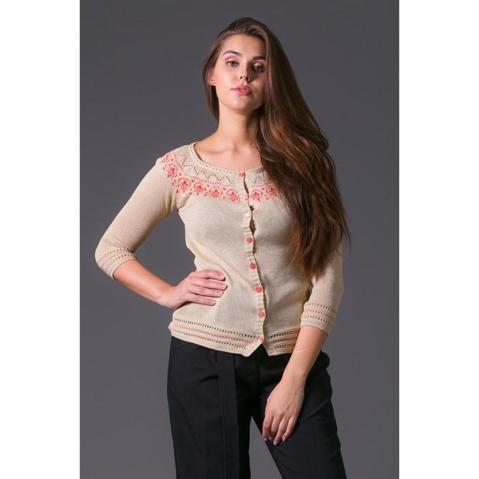 Жакет женский 3393 С+, цвет бежевый, рост 168-170 см, размер 50 (арт. 3393 С+)