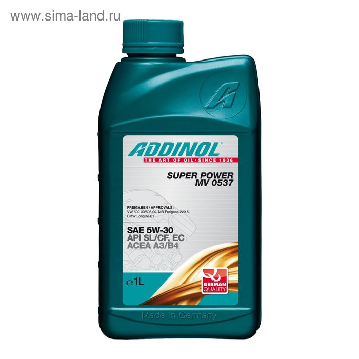 Моторное масло ADDINOL Super Power MV 0537 SAE 5W-30, 1 л