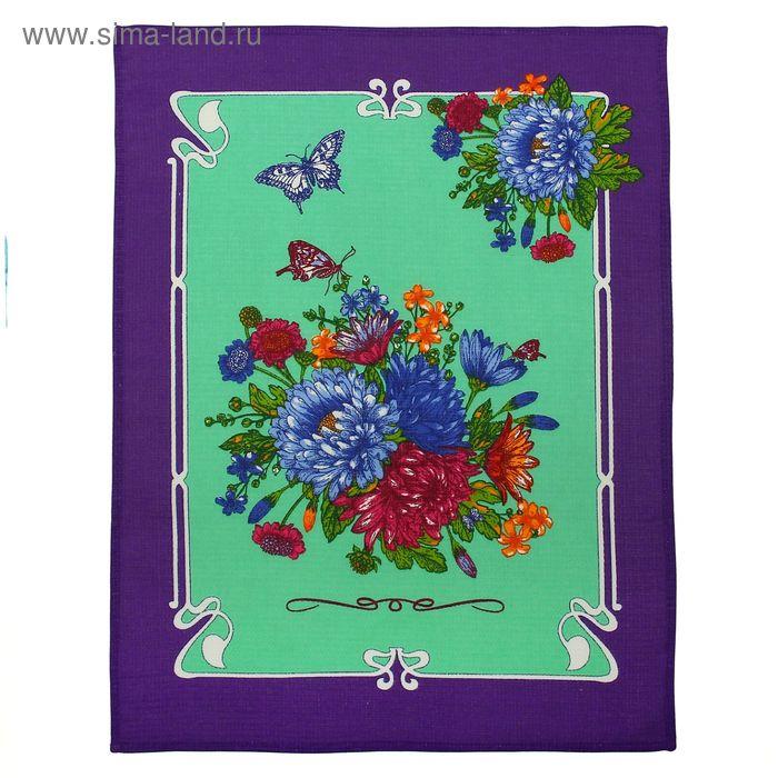 """Полотенце вафельное купонное """"Астры"""", размер 45х60 см, цвет сиреневый микс"""