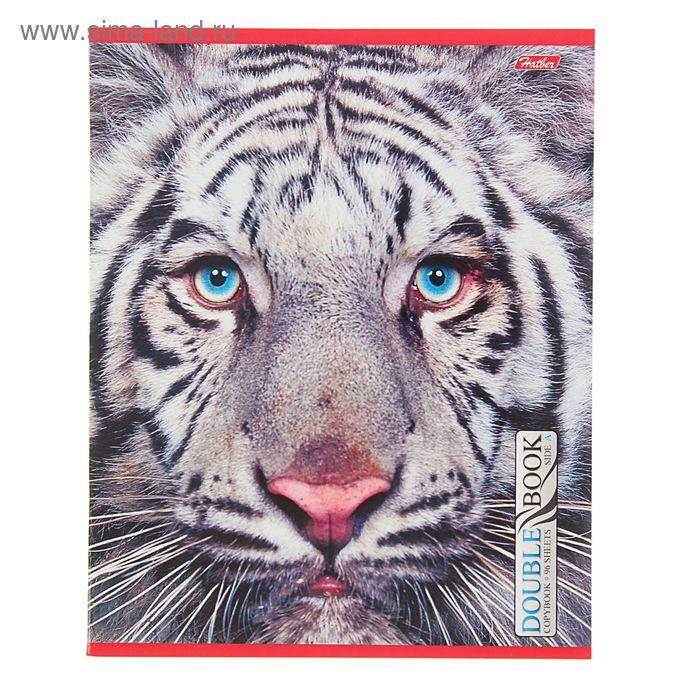 """Тетрадь двойная 96 листов клетка """"Тигр"""", картонная обложка"""