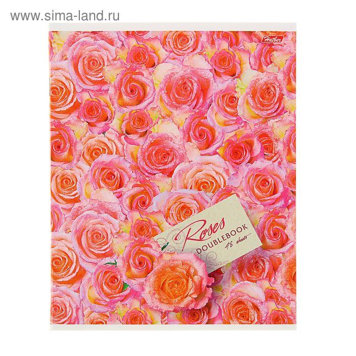 """Тетрадь двойная 48 листов клетка """"Океан роз"""", картонная обложка"""