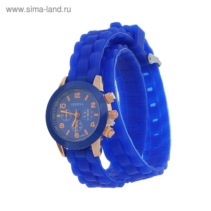 Часы наручные женские, силиконовый ремешок 2 оборота синий
