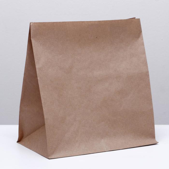 Пакет крафт бумажный фасовочный, прямоугольное дно 32 х 20 х 34 см - фото 308015698